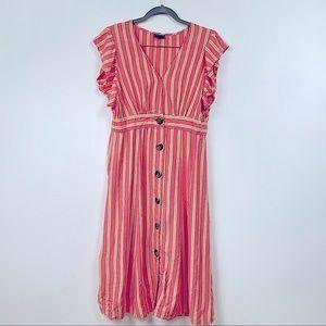 a.n.a Maxi button front closure striped dress Lg